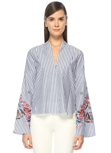 Tanya Taylor Çizgili Çiçekli Bluz Lacivert